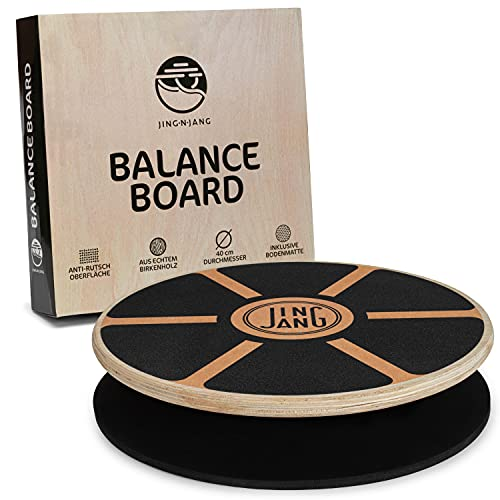 JING·N·JANG Balance Board • Wackelbrett aus Holz • Gleichgewichtstrainer inkl....