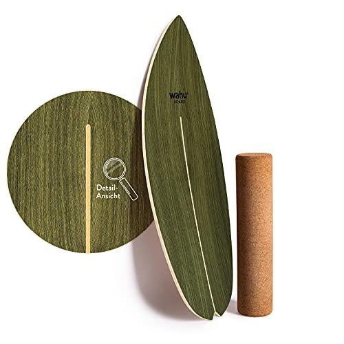 WAHU Board (Palm Green) - Balance Board mit einzigartigem Rocker Shape inkl. Rolle - Surf Balance...