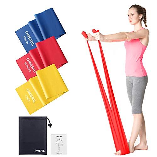 OMERIL Fitnessband 3er-Set Theraband Gymnastikband Lang Fitnessbänder Widerstandsbänder in 3...