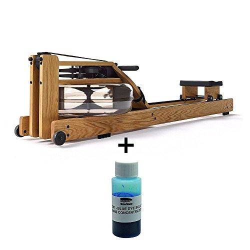 Waterrower Eiche Rudergerät inkl. blauer Wasserfarbe Fitnessgeräte für zuhause und Bauch Beine Po...