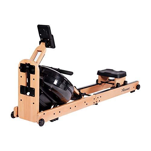 REEHUT Wasser Rudergerät Waterrower Rowing Machine Faltbares Holz für Zuhause mit Bluetooth...
