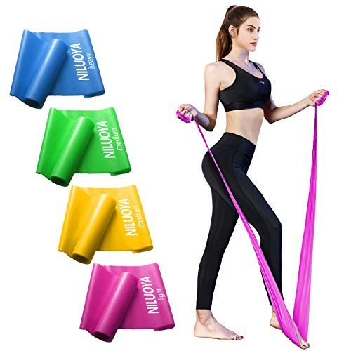 Niluoya Fitnessband 4er Set, Theraband Terrabänder Gymnastikband Terabänder Trainingsband...