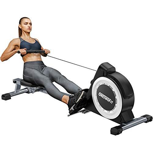 OneTwoFit Rudergerät, einstellbares Rudergerät mit 16-stufigem Widerstand und weichem Sitz und...