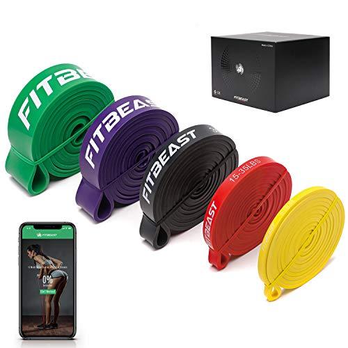 FitBeast Widerstandsband Set, 5 Verschiedene Ebenen Klimmzugband mit Türschnalle und Grip Pads...