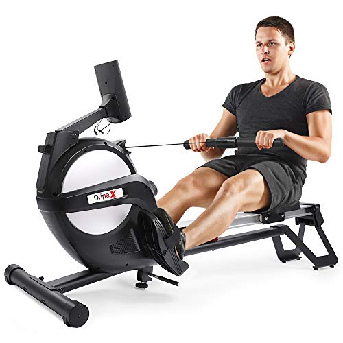 Dripex Rudergerät für Fitness zu Hause, rudermaschine mit LED-Monitor 3 kg Schwungmasse und 15...