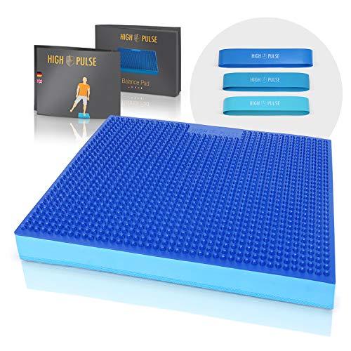 High Pulse® XXL Balance Pad mit Noppen inkl. 3X Fitnessbänder + Poster – Balancekissen mit...
