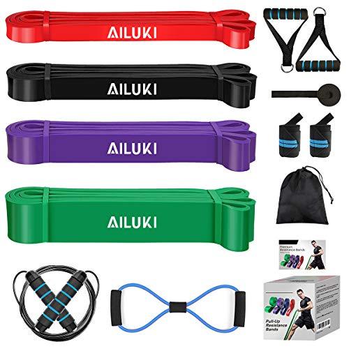 AILUKI Fitnessband Widerstandsband Set Fitnessbänder Gymnastikband für Krafttraining Crossfit...