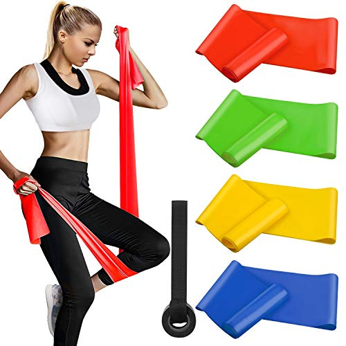 Fitnessbänder 4er-Set 200 x 15 cm, Widerstandsbände Gymnastikband Trainingsband Theraband Set...