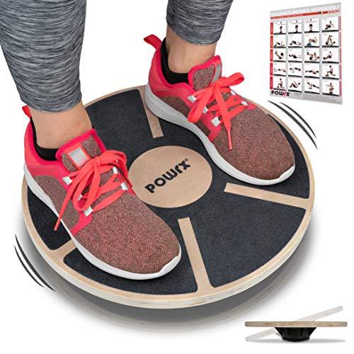 POWRX Balance Board Wackelbrett aus Holz für propriozeptives Training und Physiotherapie inkl....
