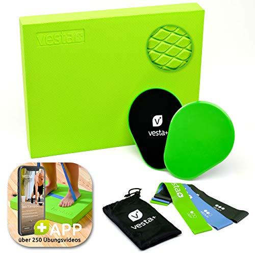 Vesta+ Balance Pad XXL Fitness APP + 3X Fitnessbänder + 2X Slider | Balancekissen Physiotherapie...
