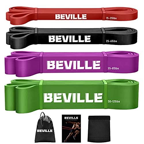 BEVILLE Resistance Bands Set, 15-125LBS Naturlatex Widerstandsbänder Fitnessbänder Gymnastikband...