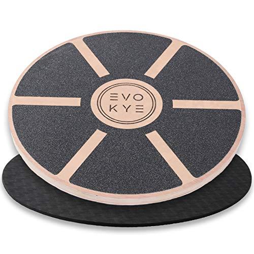 EVO KYE Balance Board (rund) mit Anti-Rutsch-Unterlage - Balancegerät aus stabilem, hochwertigen...