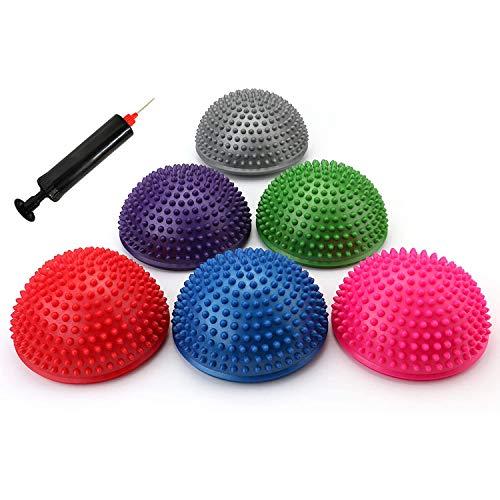 Fasmov 6 Stück Halbrund Yoga-Bäll Sport Balance Pods Mini Therapie Balance-Igel Ball Hart...