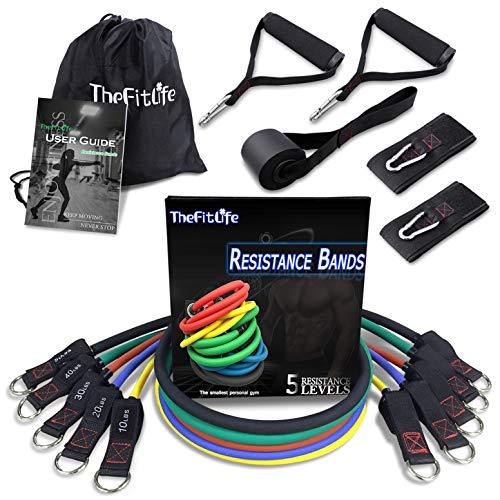 TheFitLife Fitness Widerstandsbänder mit Griff - 5 Fitnessgurte, Trainingsrohr mit großem Griff,...