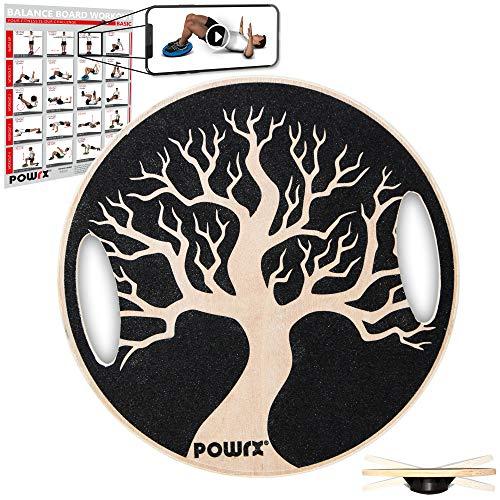 POWRX Balance Board mit Griffen Wackelbrett aus Holz für propriozeptives Training inkl. Workout I...