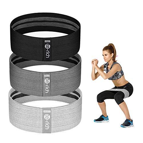 Te-Rich Fitnessband [3er Set] rutschfest Fitnessbänder Gym Sportband mit starker Dehnbarkeit, Hip...
