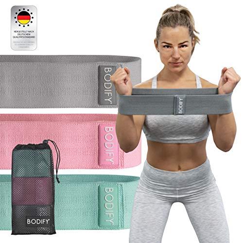 Bodify® Fitnessbänder aus Stoff – Rutschfeste Gymnastikbänder Therabänder – Elastisches...