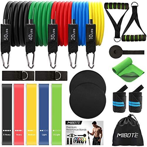 MIBOTE 22 Pack Widerstandsbänder Set Fitnessbänder, 5 stapelbare Übungsbänder, 5...