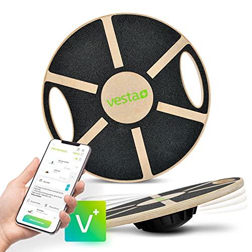 Vesta+ Balance Board Holz + Fitness App, Fitness Balance Board Erwachsene Physiotherapie, Balance...