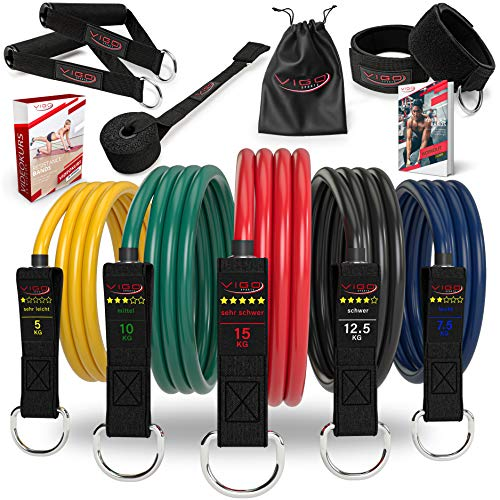 Vigo Sports Resistance Bands Expander Set inkl. Videokurs & PDF Anleitung - effektives Home-Workout...