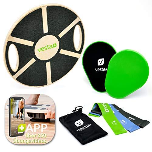 Vesta+ Balance Board Holz Fitness APP + 3X Fitnessbänder + 2X Slider | Wackelbrett Balance Board...