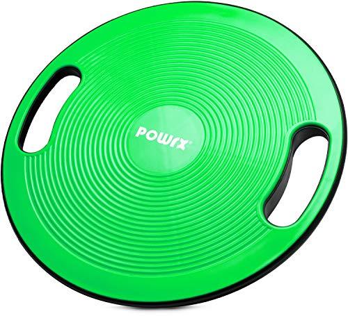 POWRX Balance Board inkl. Workout I Wackelbrett Ø 40cm mit Griffen I Therapiekreisel für...