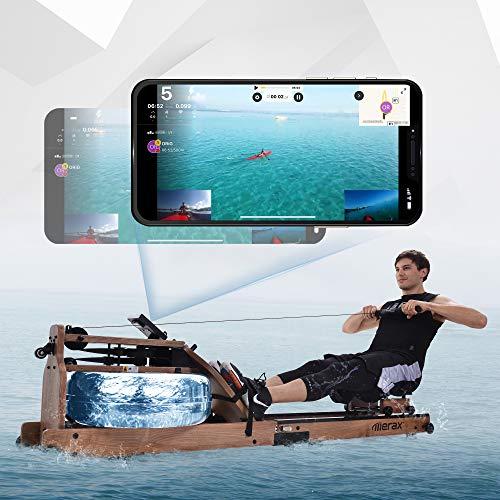 Rudergerät Wasser mit Faltfunktion, Eschenholz Rudergerät mit LCD-Monitor Bluetooth APP, Indoor...