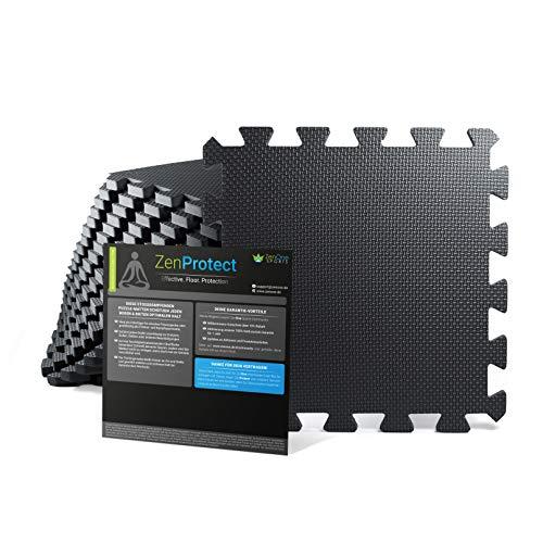 ZenOne Sports Bodenschutzmatte [30x30x1cm] I 18x Fitness Bodenmatte für Home Gym, Fitnessgerät,...
