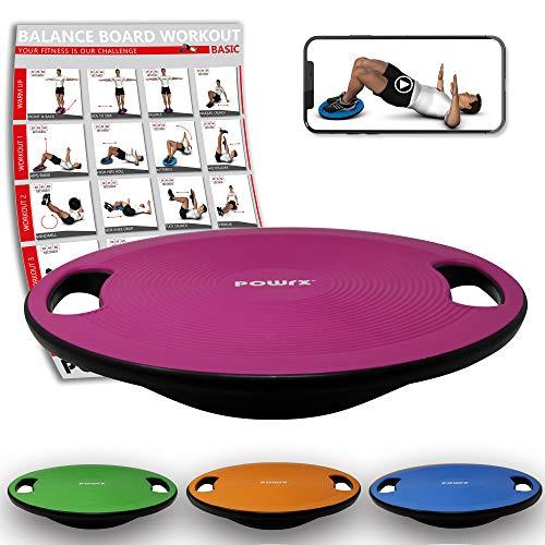 POWRX Balance Board inkl. Workout I Wackelbrett Ø 39cm mit Griffen I Therapiekreisel für...