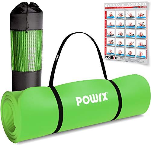 POWRX Gymnastikmatte I Yoga-Matte inkl. Trageband + Tasche + GRATIS Übungsposter I Hautfreundliche...