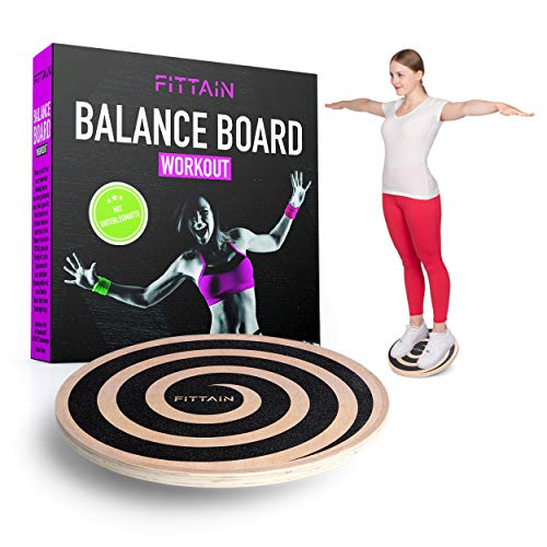 FITTAIN® Praktisches Balanceboard Set – Wackelbrett mit Unterlegmatte – Wackelbrett Holz –...