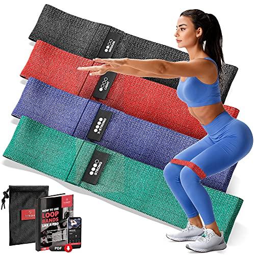 Fitnessband Set - 4X Loop Textil Resistance Widerstandsband + Trainings-eBook   Stoff Gymnastikband,...